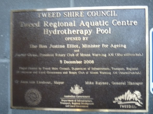The Hydrotherapy pool was initiated and sponsored by RC of Mt Warning AM