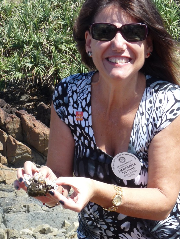 Rotarian Magarita from the RC of Mt Warning AM (our host club) happily holding what she finds in the pond!
